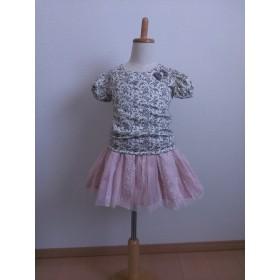 ピンクレースのチュールスカート