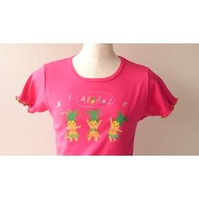 手描き 黄色いパイナップルガール+フリルTシャツ