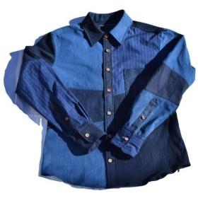 藍染 クレイジーパネル パッチワーク シャツ 005 w/ウッドボタン 1size