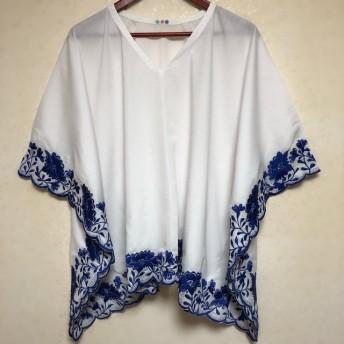 刺繍 コットン ポンチョ ブラウス 白×マリンブルー