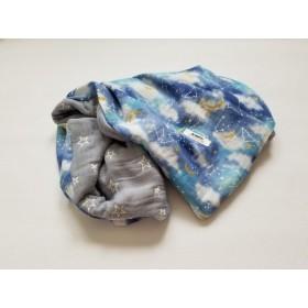 8重ガーゼケット グラデーション夜空 ブルー ハンドメイド プレゼント 出産祝い handmade