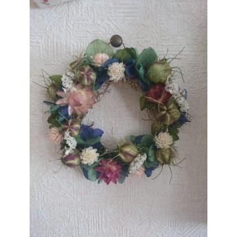 紫陽花とニゲラの涼しげリース