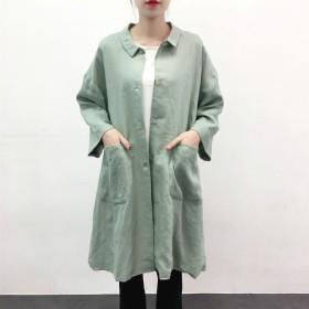 ★en-en春・秋リネン・ちび襟Aラインコート・薄グリーン裏地付き