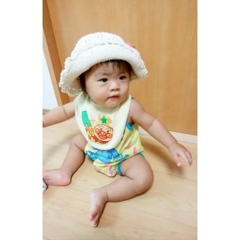 【受注制作】手編みの日よけ付ニット帽 赤ちゃん~3才サイズ 選べるカラー
