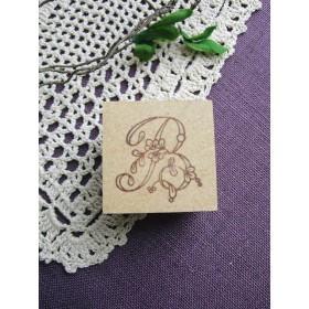 【SALE】イニシャルスタンプ「B」3cm角アンティーク復刻刺繍図案