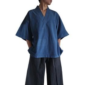 ジョムトン手織り綿の着物V五分袖プルオーバー(BFS-104)