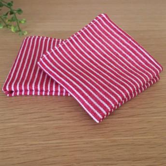 小さいガーゼハンカチ 2枚組 ヒッコリー赤