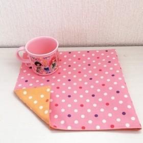 ピンク&オレンジドット柄のランチョンマット(30 40)/リバーシブル