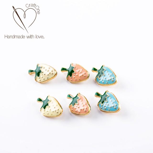 果物形ボタンパーツ いちご 夏向け ハンドメイドパーツ(6個入り) EPS0400442、EPS0400443、EPS0400444