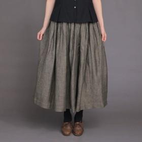 LISETTE LISETTE [リゼッタ] リネンヘリンボーンギャザースカート ミモレ丈・ひざ下丈スカート,チャコールグレー