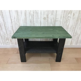 ミニテーブル グリーン 緑 ★ 花台 ローテーブル ソファテーブル サイドテーブル ナチュラルインテリア リビング 家具 緑色の家具 ハンドメイド DIY