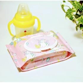 カビない乾きにくい ユニコーン ジュエリー ピンク おしりふきポーチ ウェットティッシュケース 離乳食 出産祝い ラミネート ゆめかわいい 夢かわいい 夢可愛い パステル ペガサス