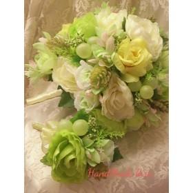 ☆送料込☆ティアドロップブーケ☆ラナンキュラス、薔薇、葡萄など淡いグリーン、イエロー系です