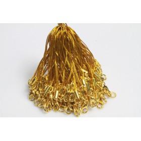 【カニカン付きストラップ】 ゴールド紐×ゴールドカニカン 50本セット ★メール便送料無料!★