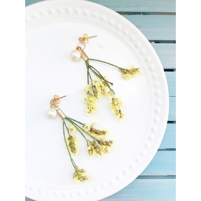 ナチュラルドライフラワーの花束ピアス/イヤリング交換可