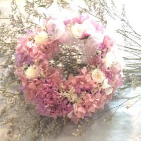 Pinky Dreamy Roses :フラワーリース : プリザーブドフラワー : ギフト