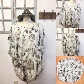 再販×5 不思議な国のキノコ柄 ️丸型チュニックTシャツ(サイズフリー L〜 L L)※受注生産