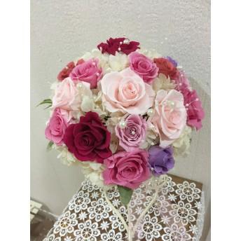 バラと紫陽花のウエディングブーケ プリザーブドフラワー ラウンドブーケ