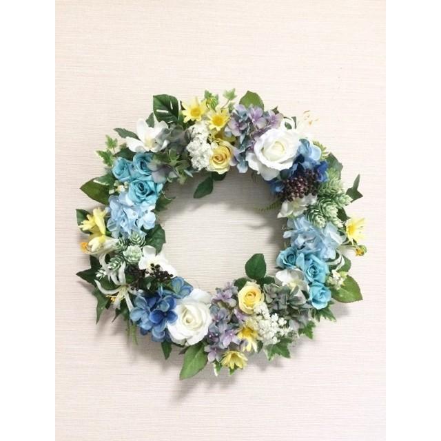 No. wreath-14597/★ギフト/花/玄関リース★/アートフラワー/バラとあじさいのリース/40cm