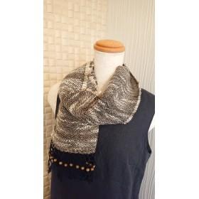 手織り 麻糸のミニマフラー