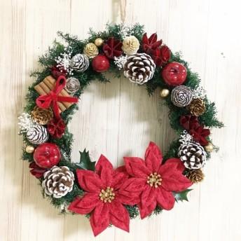 幸せのクリスマスリース☆ポインセチア L