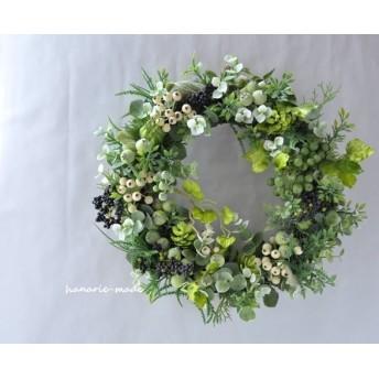 【再販】green, white & black berry:wreath