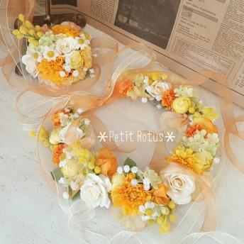 オーダー ウェディング花冠*オレンジ、イエロー、ホワイトで明るく華やかに ご検討の方はご購入前に必ずメッセージをお願いいたします♪