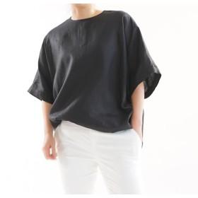 【wafu】薄地 リネンブラウス ビックサイズ Tシャツ 襟ぐり小さめ 背中ファスナー / ブラック t016c-bck1