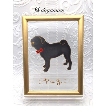 DOG. AM グラスアートフレーム パグ ブラック