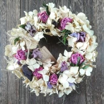。°・紫陽花と薔薇 フラワーリース・°♪ D14 アンティーク