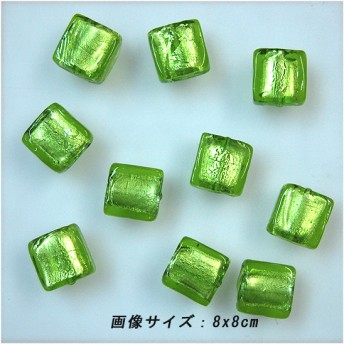 【送料無料】正方ガラスパーツ(グリーン/孔あり)