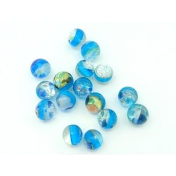 銀箔入りランプワークビーズ ラウンド(ブルー) 10個*素材*ビーズ*パーツ*アクセサリーパーツ
