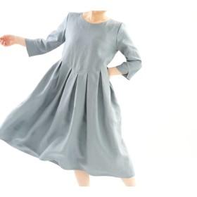 【wafu】中厚 リネンワンピース タック スカート ドレス 半端袖 ミモレ丈 丸首 / エタインブルー a013a-ebn2