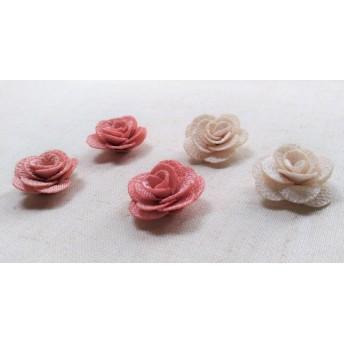 26mm バラのモチーフ ピンク&ホワイト 10個セット R61