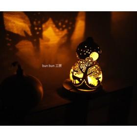(母の日の贈り物にも♪ひょうたんランプ-SサイズLED電池式タイプ 深夜の森