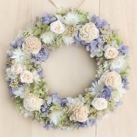 ミニバラのライムパープルリースL リースボックス付き プリザーブドフラワー ウェディング 結婚祝い 両親贈呈 プレゼント 花 ホワイト ミニバラ