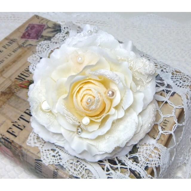 2wayコサージュ&ヘッドドレス マリアンヌローズ☆:. バニラホワイト