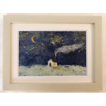 和紙ちぎり絵『星降る丘の上の小さなお家』ポストカードサイズ原画