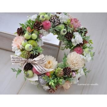 再販mini-wreath 17cm:白い小花と シュガーアップル