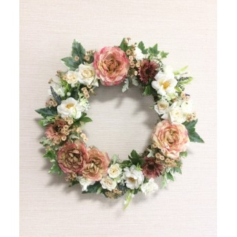 No. wreath-14603/★ギフト/花/玄関リース★/アートフラワー/ピンク・ローズのリース(2)/40cm