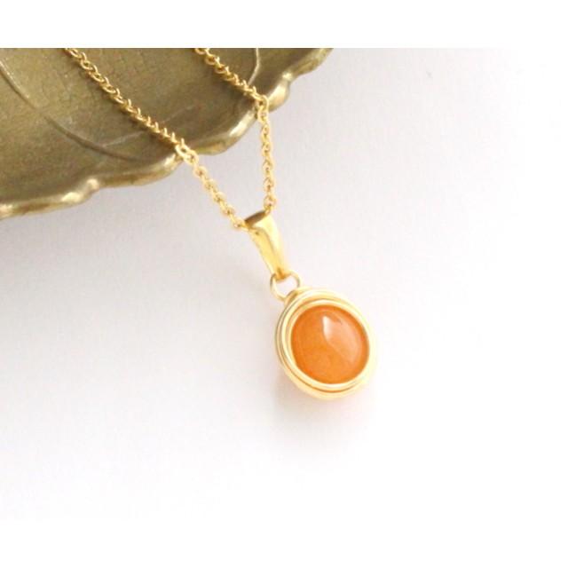 〈ナチュラルオレンジ〉天然石オーバルネックレス エレガントラップ