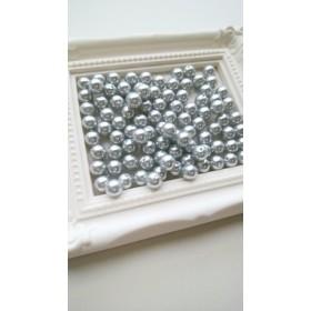 【6mm 100個】樹脂パール 丸玉 両穴(ライトグレー)