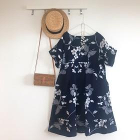 浴衣リメイク 蝶と桜 茄子紺のティアードワンピース