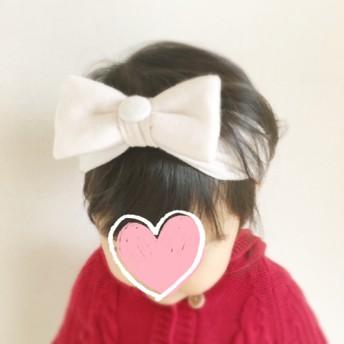 ほんのり極淡ピンク 柔らかニットのキッズヘアバンド