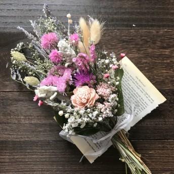 再販 ピンクカラーのドライフラワー スワッグ 花束 ブーケ