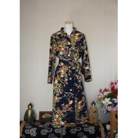 値下げしました 立ち襟のロングワンピース 10 正絹着物からのリメイク服です