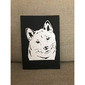 ★送料無料★〝微笑む…柴犬〟切り絵ポスター