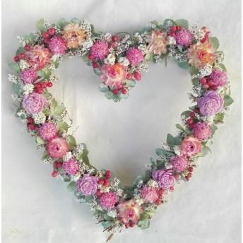 秋紫陽花のハートリース
