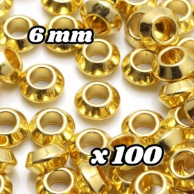 【A628】 送料無料 [約100個] ロンデルビーズ(15) ソロバン型 【GD】 6mm