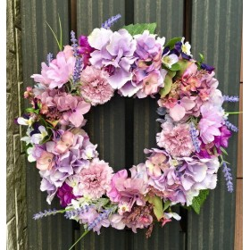 No. wreath-15020/★ アジサイのリース(ピンク&パープル)33cm・アートフラワー/造花リース